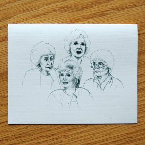 Golden Girls Greeting card by Blake Roberts, ThePaintedPeepShow, now available on Etsy.com