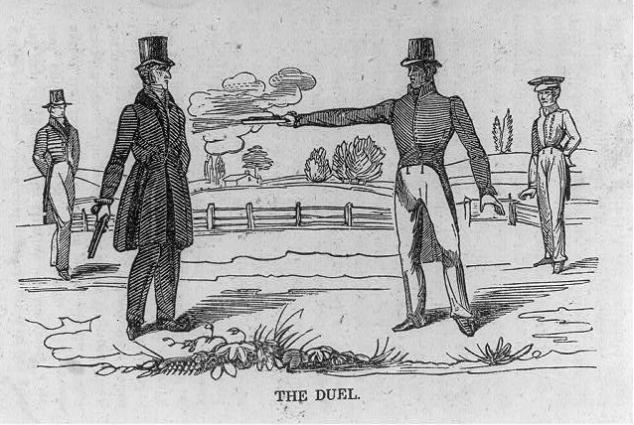1834_Duel_Woodcut_Jackson_Dickenson_LOC